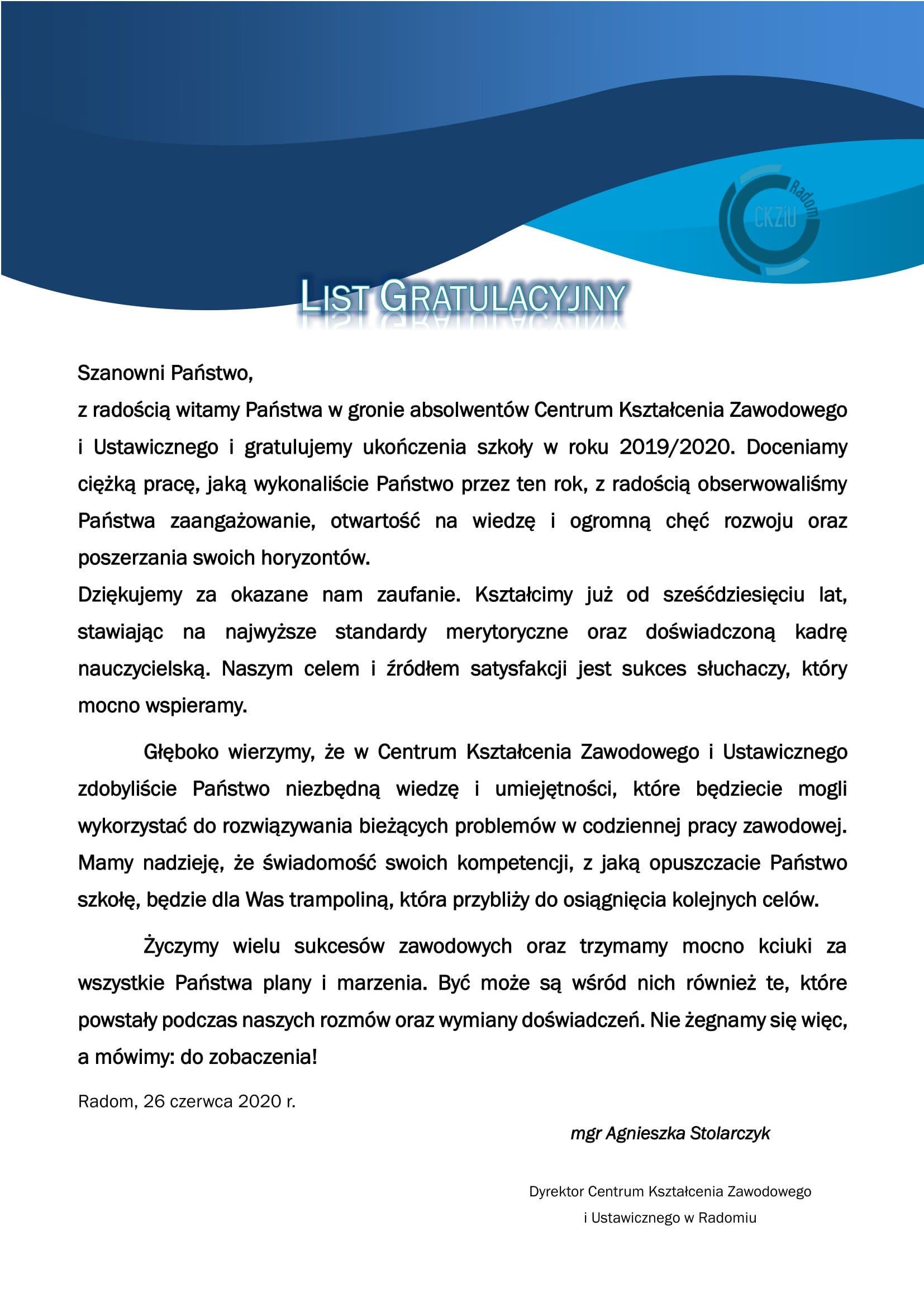 List gratulacyjny doabsolwentów Centrum Kształcenia Zawodowego iUstawicznego